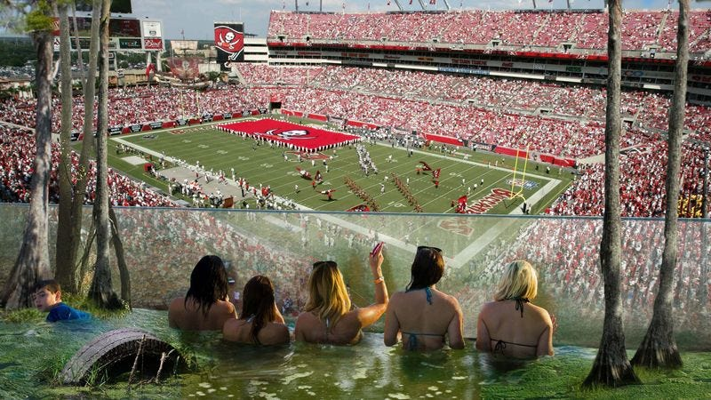Illustration for article titled Bucs Stadium Now Allowing Fans To Watch Games From Special Swamp Deck