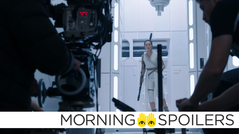 Rey wanders through some stark corridors and confronts her deadliest foe yet: a camera crew.