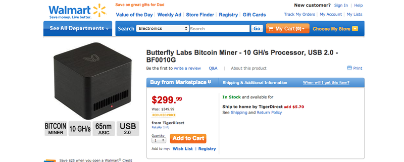 Illustration for article titled You Can Now Buy Bitcoin Mining Hardware From Walmart