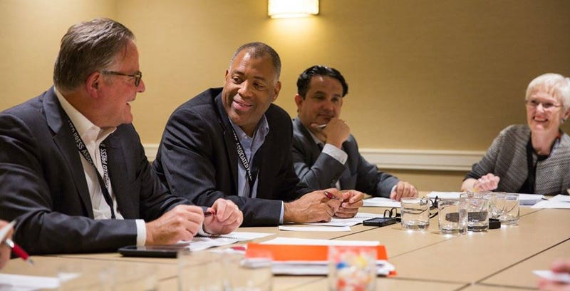 David Boardman, president of the ASNE  Foundation; new President Mizell Stewart III; new Vice President Alfredo Carbajal; and outgoing board member Charlotte Hall at a board meeting in September 2016 of the American Society of News EditorsAmerican Society of News Editors