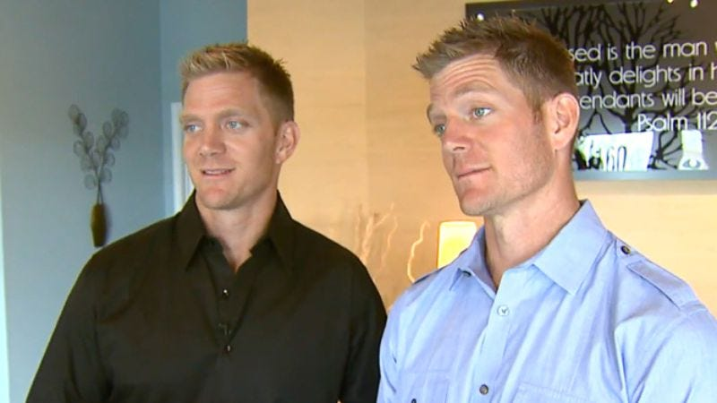Flip It Forward hosts David and Jason Benham, seen here picturing torrid gay sex in their heads