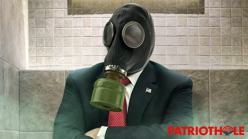 Extremely Brave: Strong President Donald Trump Is Courageously Sitting On His Toilet In A Gas Mask While The White House Gets Fumigated
