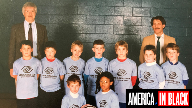 Angela Tucker (bottom right) posing with her basketball team at the Boys and Girls Club in 1993. She is the only girl and only black person on the team.