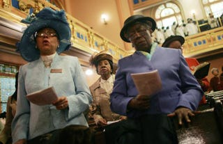 Parishioners sing during Easter service in Harlem at Mount Olivet Baptist Church in New York City, April 8, 2007.Mario Tama/Getty Images