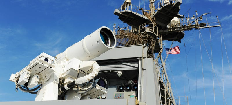 The current surely terrifying enough 30 kW laser system on the U.S.S. Ponce. Photo Credit: the Navy