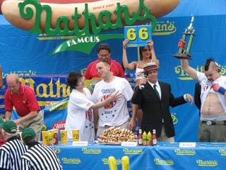 Illustration for article titled Deadspin Classic: Our Visit To The Hot Dog Eating Championships