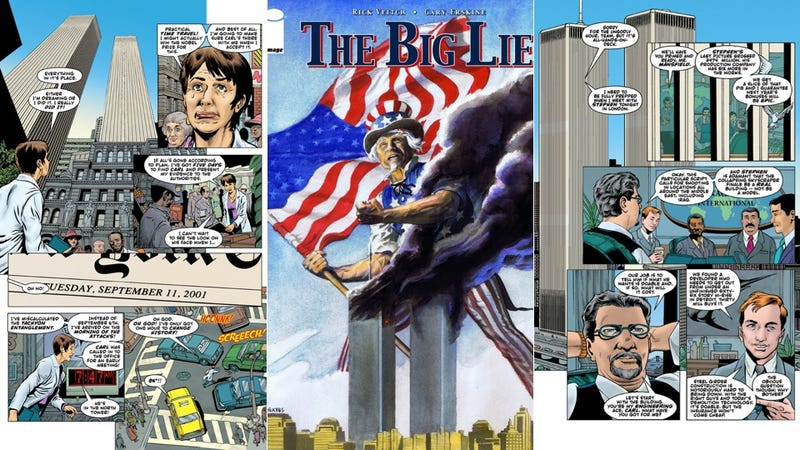 "Illustration for article titled The 9/11 ""Truther"" comic sends you back in time to save the Twin Towers"