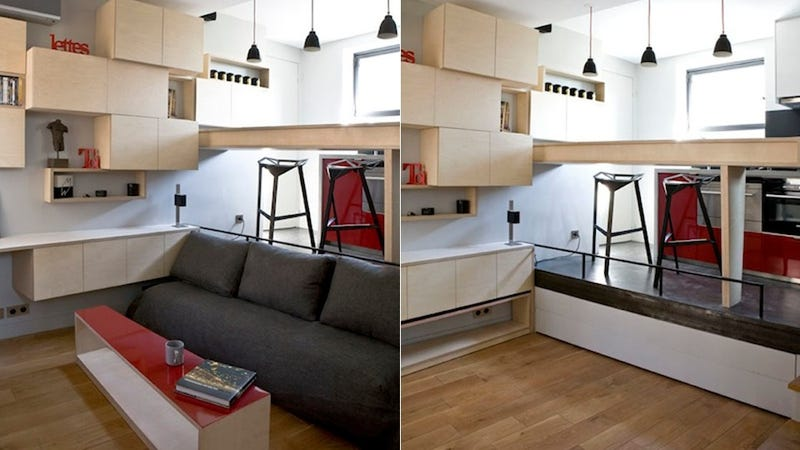 Illustration for article titled Spot the Hidden Bed in This 130 Square-Foot Paris Apartment