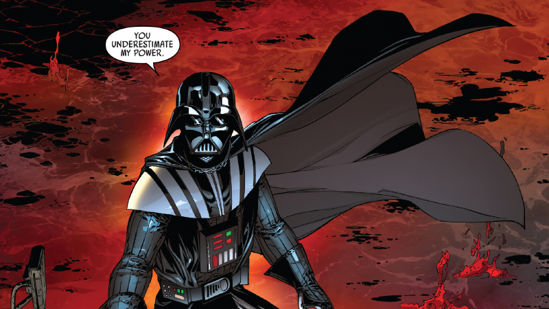 A scene from Anakin Skywalker's private fan cut of Revenge of the Sith, as seen in Darth Vader #13.