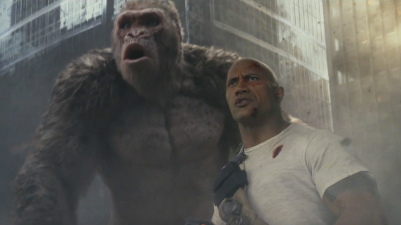The Rock and his large gorilla pal in Rampage.