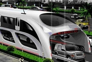 Illustration for article titled Chinese To Revolutionize Cities With Traffic-Straddling Bus
