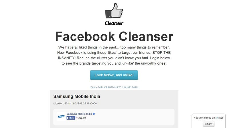 Illustration for article titled Facebook Cleanser Quickly Unsubscribes You from Pages You Liked
