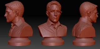 Illustration for article titled Erect a Monument to Freedom by 3D Printing This Bust of Edward Snowden