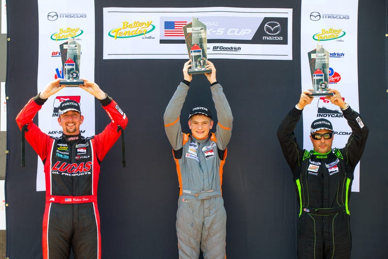Illustration for article titled 14-Year-Old Robert Noaker Wins MX-5 Cup Race At Mid Ohio