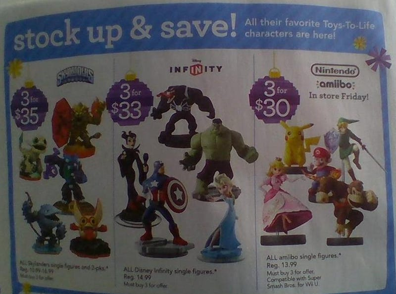 Illustration for article titled Amiibo Sale - 3 for $30 at Toys R Us on November 21-22