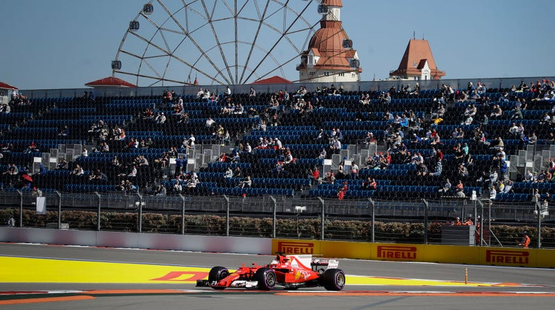 Sebastian Vettel during practice at the Russian Grand Prix. Photo credit: AP Photo/Pavel Golovkin