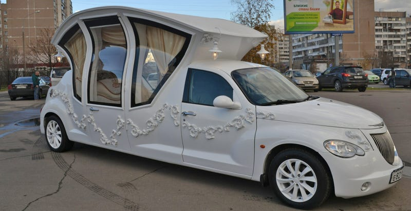 this russian pt cruiser wedding limo is the worst thing ever. Black Bedroom Furniture Sets. Home Design Ideas