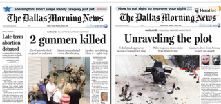 Front pages of the Dallas Morning News for Monday (left) and Tuesday did not show the cartoons that triggered the violence.The Dallas Morning News