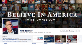 Illustration for article titled Mitt Romney Breaks Facebook Rules With Self-Promoting Cover Photo