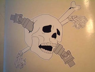 Illustration for article titled Life Imitates Art, or Something: Getcher Driveshaft-Through-Skull Warning Decals!