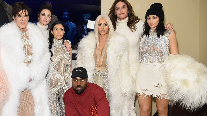 Kris Jenner, Kendall Jenner, Kourtney Kardashian, Kanye West, Kim Kardashian, Caitlyn Jenner and Kylie Jenner attend Kanye West Yeezy Season 3 on Feb. 11, 2016, in New York City.