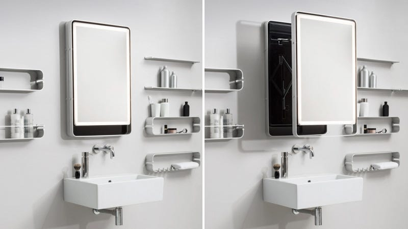 pull this bathroom mirror out of the wall instead of leaning over the sink