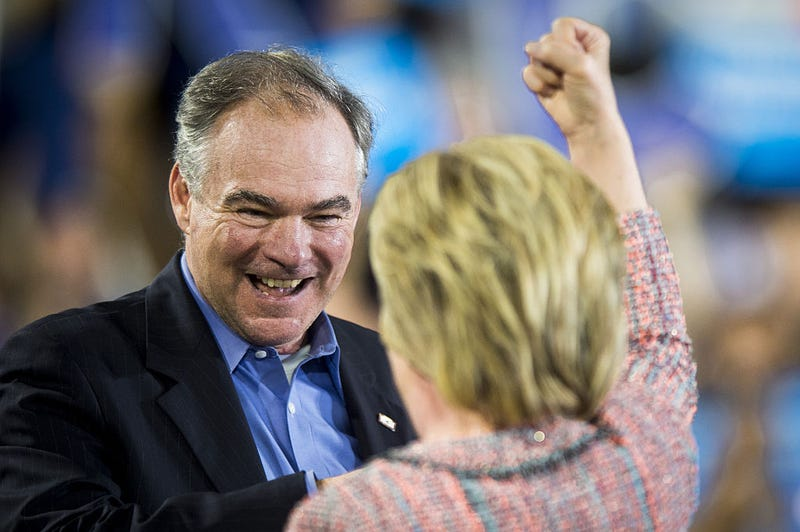 Senator Tim Kaine, a Democrat from Virginia, and Hillary Clinton, presumptive 2016 Democratic presidential nominee, at a campaign event in Virginia on July 14, 2016.Pete Marovich/Bloomberg via Getty Images