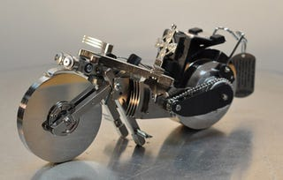 Illustration for article titled A Hard Drive Motorcyle and Other Wonderful Storage Sculptures