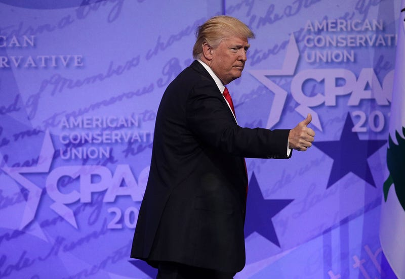 President Donald Trump acknowledges the crowd after addressing the Conservative Political Action Conference at the Gaylord National Resort and Convention Center on Feb. 24, 2017, in National Harbor, Md.