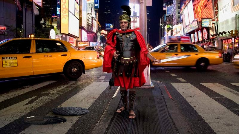 Roman Centurion Crawling Out Of New York City Manhole In For One Wacky Adventure