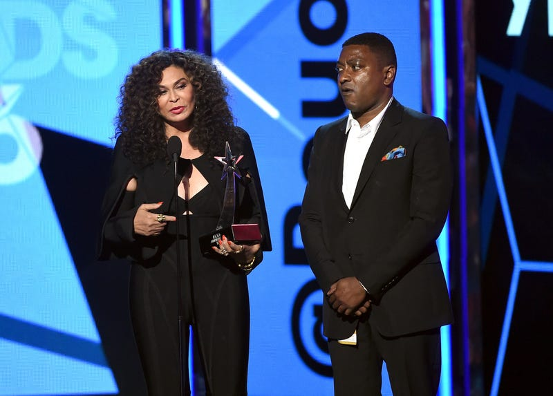 "Tina Knowles and the chief operating officer of Beyoncé's  Parkwood Entertainment, Steve Pamon, accept the Video of the Year award for ""Formation"" on behalf of Beyoncé at the BET Awards June 26, 2016, in Los Angeles.Kevin Winter/BET/Getty Images for BET"