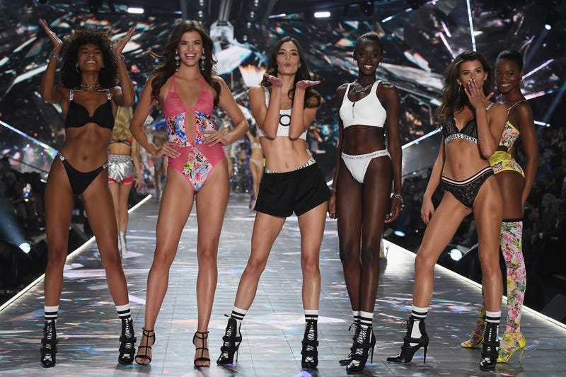 (L-R) Cheyenne Maya Carty, Sofie Rovenstine, Sadie Newman, Subah Koj, Georgia Fowler, and Mayowa Nicholas walk the runway during the 2018 Victoria's Secret Fashion Show at Pier 94 on November 8, 2018 in New York City.
