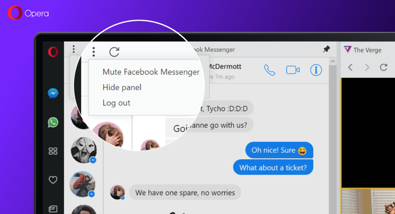 Opera integra Telegram, WhatsApp, y Facebook Messenger a su nuevo buscador
