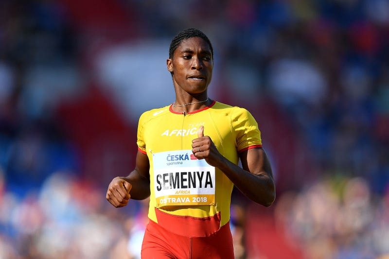 Caster Semenya of Team Africa celebrates victory following the Womens 800 Meter during day two of the IAAF Continental Cup at Mestsky Stadium on September 9, 2018 in Ostrava, Czech Republic.