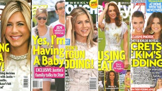 Illustration for article titled This Week In Tabloids: Jennifer Aniston's Secret Baby Bump & Shotgun Wedding