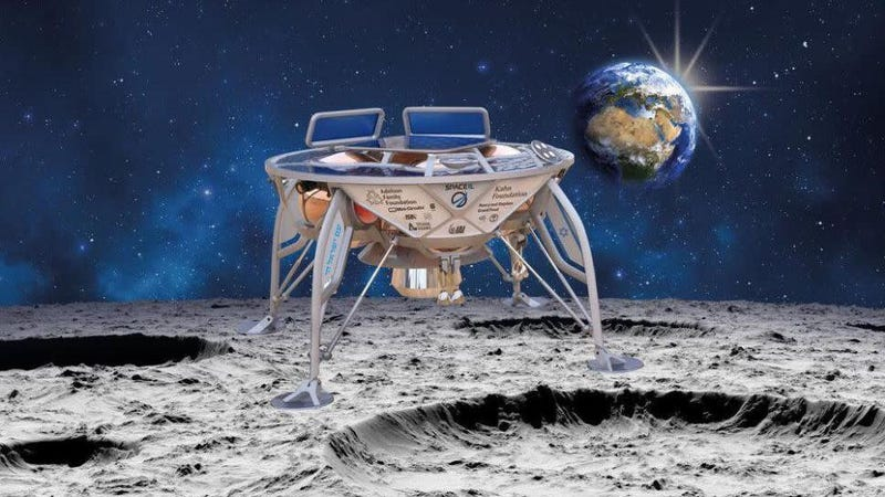 Artist's depiction of Beresheet on the lunar surface.