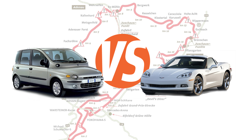 Illustration for article titled Holy Crap Here's Video Of A Fiat Multipla Beating A Corvette On The 'Ring