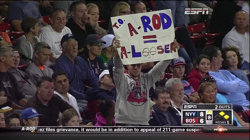 """Illustration for article titled Red Sox Fans Think A-Rod Is A """"Looser"""""""