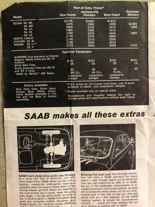 Illustration for article titled 1967 Saab Options/Price List