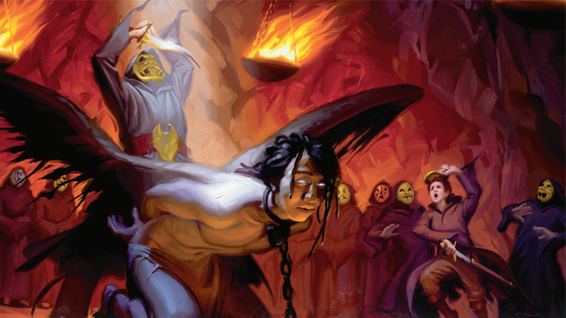 A sacrifice is interrupted in interior art from Mordenkainen's Tome of Foes.