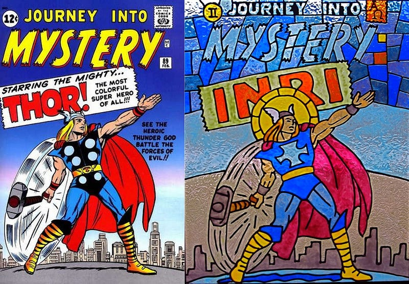 Illustration for article titled Classic comic book covers recreated in stained glass