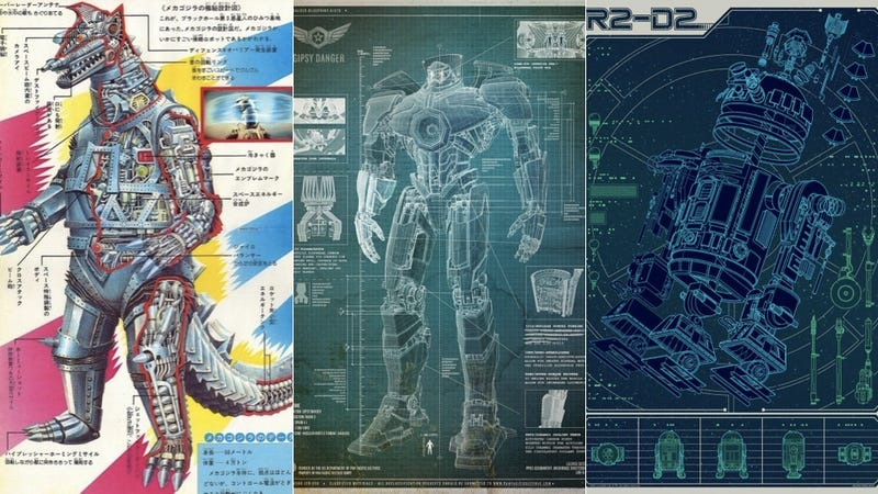 Illustration for article titled These Blueprints Expose The Innards Of Your Favorite Fictional Robots