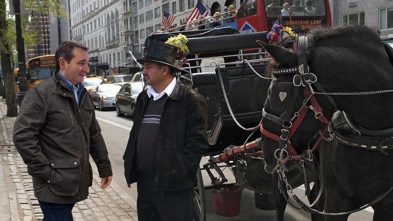 Illustration for article titled Ted Cruz Asks Central Park Hansom Cab Driver How Much It Costs To Whip Horse For An Hour