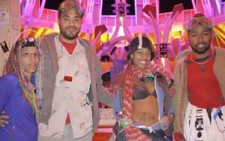 Black burners Cynthia S., Keir, Pamala Crawford and Chris R. at Burning Man 2012 (Ed Fletcher)