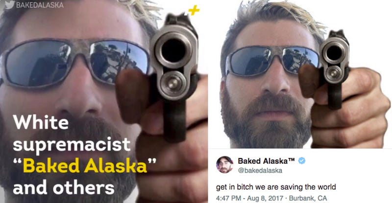 Screenshot from a video created by AJ Plus about white supremacist Baked Alaska (left) and the same image tweeted by Baked Alaska a month earlier (right)