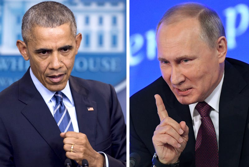 President Barack Obama; Russian President Vladimir Putin. President Obama on Dec. 29, 2016, issued sanctions against Russia and ordered suspected spies expelled for what he said was Russian interference in the 2016 U.S. presidential election. SAUL LOEB/AFP/Getty Images; NATALIA KOLESNIKOVA/AFP/Getty Images