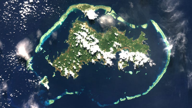 Satellite view of the island of Mayotte in the Indian Ocean.