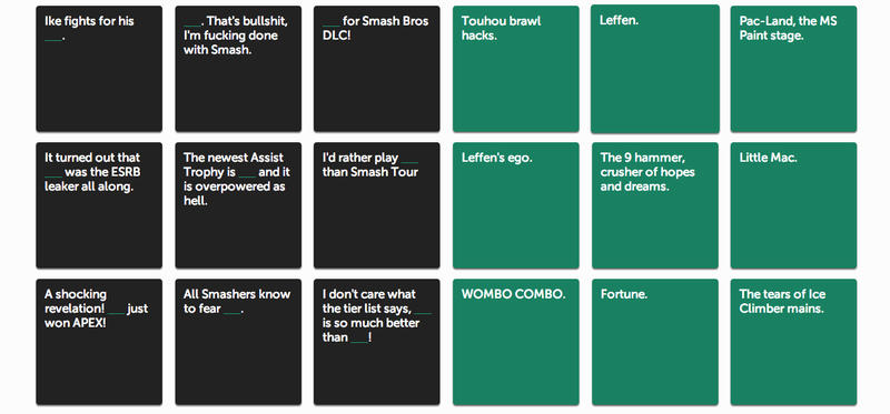 Illustration for article titled Smash Bros. Fans Have Some Great Ideas For Cards Against Humanity