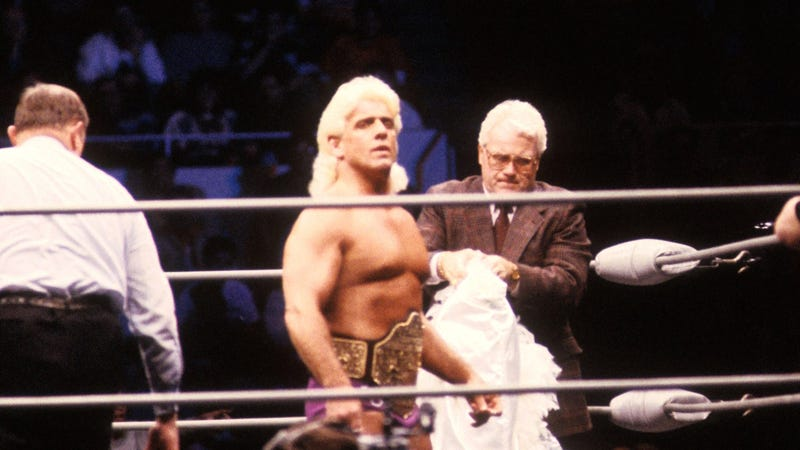 NWA world heavyweight champion Ric Flair prepares to defend the title in 1988. Photo credit: B Bennett/Getty Images