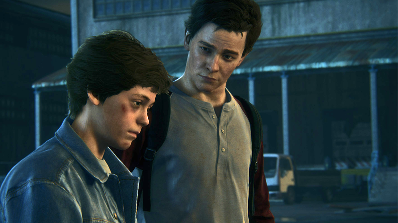 A young Nathan Drake (left) and his brother, as they appear in Uncharted 4: A Thief's End.